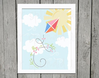 Let's Go Fly A Kite Sprint Digital Printable 8 x 10