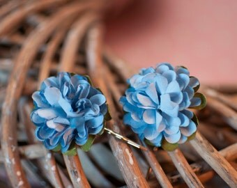 Floral Hair Slides - Blue Cornflower Ruffle Roses Wedding Festival Bridesmaid Flowergirl Special Occasion Bobby Pins Kirby Pins