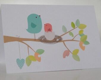 BIRTHDAY CARD GIRL --- Mumma Bird & Nest ---Baby shower card--- New Baby card