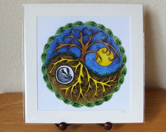 Yin & Yang Mounted Print, Tree and Badger Large Square Artwork, Nature, Wildlife, Celtic Design, Ready for Framing (Frame not supplied).