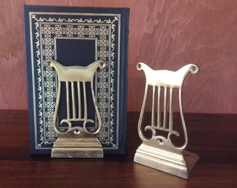 Vintage Brass Lyre Bookends-Brass Harp Bookends
