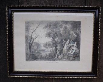 "Old engraving of the eighteenth century by Lancret / Reproduction of ""Spring"" of 1890 by Lancret CHAMPOLLION"