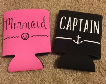 Mermaid/Captain Can Cooler Set
