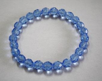 Light Sapphire Crystal Bracelet, Crystal Bracelet, Sapphire Bracelet, Crystal Jewelry