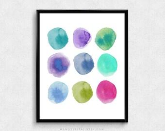 SALE -  Watercolor Dots, Watercolor Circles, Colorful Poster, Kid Children Print, School Decor, Shape Print, Rainbow Color, Nursery
