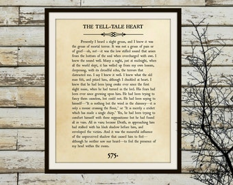 TELL-TALE HEART -Book Page Wall Art- Edgar Allan Poe- Book Lovers Large Wall Poster- Great For Home or Halloween Decor