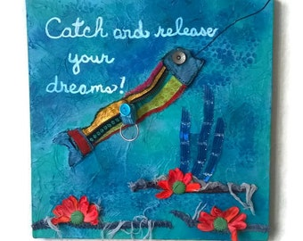 "Canvas Wall Art, Ocean Art, Recyled Jeans Art, 12"" x 12"" Canvas Art, ""Catch And Release Your Dreams!"", CA#110"