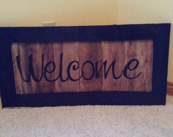 Reclaimed barn wood welcome sign