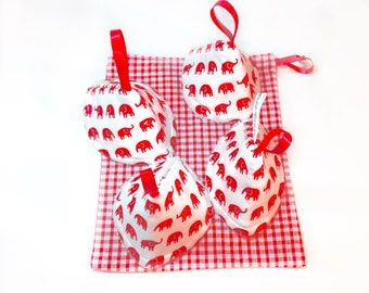 Baby boy gift, sprinkler covers, stop squirts teepees, tinkle tents, drawstring bag, baby shower gift, Peepee ,elephants, red white