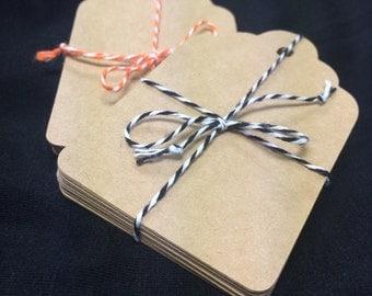 20 Kraft Die Cut Tag, Gift Tags, Hang tags, Labels, Earring Cards