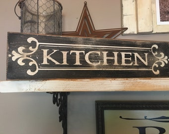 Kitchen Sign Distressed Aged Rustic