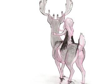Deer Faerie Mini Print