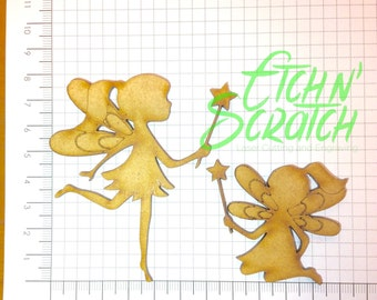 Laser cut Pair of MDF fairies ( Fairy )