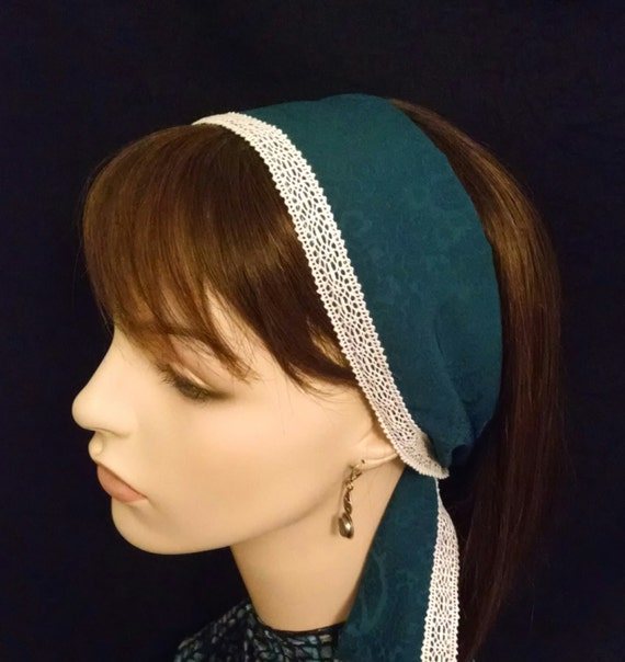 Soft and lacey teal headband