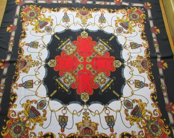 Square scarf red black white gold