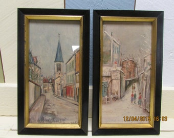 Maurice Utrillo 2 Scenes /Eglise of Leine and Montmartre / Maurice Utrillo Maurice Utrillo Signature VINTAGE VTG