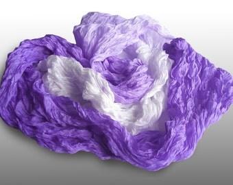 """Lilac Ruffled silk scarf 24"""" x 92"""" (60x235cm)"""