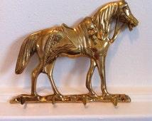 Vintage Key Hook - Brass Horse Decorative Hook - 4 Wall Mount Accessory Hooks - Equestrian Wall Decor
