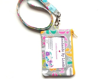 ID lanyard Numbers, teacher gift, zippered ID pouch, lanyard, school ID holder