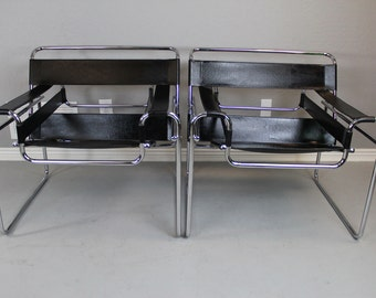 Marcel Breuer Wassily Mid Century Modern Lounge Chairs  - Chrome & Black Leather