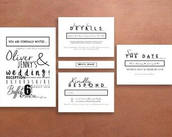 Personalised Graphic Typography Wedding Invitation Suite