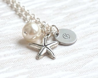 Set of 4 Starfish Necklaces, Personalized Bridesmaid Jewelry, Bridesmaid Gifts 4, Bridesmaid 4 Necklaces, Sea Star, Beach weddings