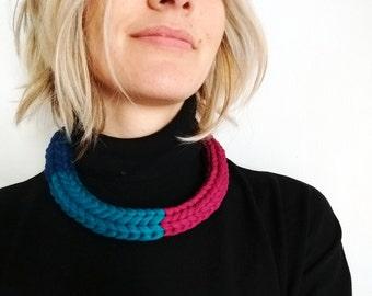 Cotton yarn necklace   Deep pink, blue petrol, blue