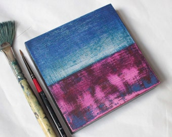 ABSTRACT PAINTING | Abstract Art | MINIATURE Painting | Mixed Media Painting | Painting on Wood Panel | Seascape | Small Painting | 4''x4''