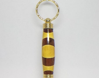 Secret Compartment Key Chain with Holly and Cocobolo Woods-#K059