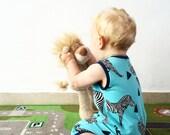 Summer Shortie Playsuit Toddler Romper Blue Zebra Print Onesie Modern Baby Clothes Baby Onesie Print Playsuit Organic Baby Clothes