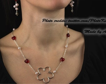 Wedding jewelry - white and red pearls