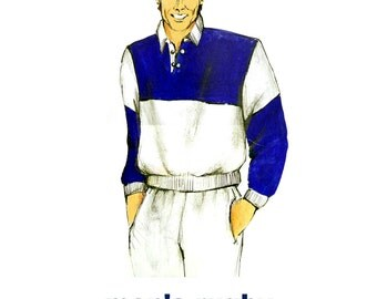 1980 J&L Stretch Fabric 023 Men's Rugby Shirt with Ribbed Collar, Waistband and Cuffs Uncut, Factory Folded Sewing Pattern Multi Size 30-46