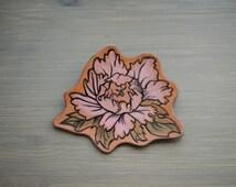 Leather brooch, handmade broch, flower brooch, peony brooch