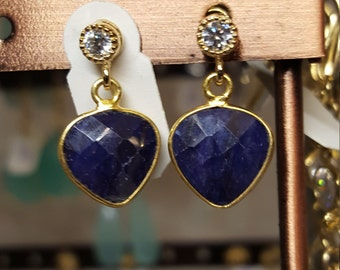 Blue sapphire earrings with gold plated bezel and CZ posts