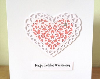 Wedding Anniversary Card - Wedding Anniversary - Anniversary Card - Handmade Greeting Card - 3D Heart -  Paper Lace Heart