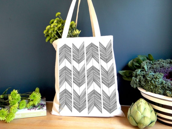 Abstract Arrow Screen Printed Market Tote