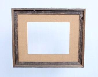 "Barnwood 16x20"" Picture Frame, Burlap Mat, 11x14"" Opening Photo Frame, Rustic Decor"