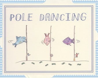 Funny Greeting Card, Funny Card, Snarky Card, Quirky Card, Just Because Card, Funny Fish, Humor Card, Fish Card, Adult Humor, Pole Dance