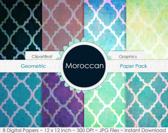 MOROCCAN Digital Paper Pack Commercial Use Digital Background Paper Morocco Digital Paper Quatrefoil Paper Party Printable Scrapbook Paper