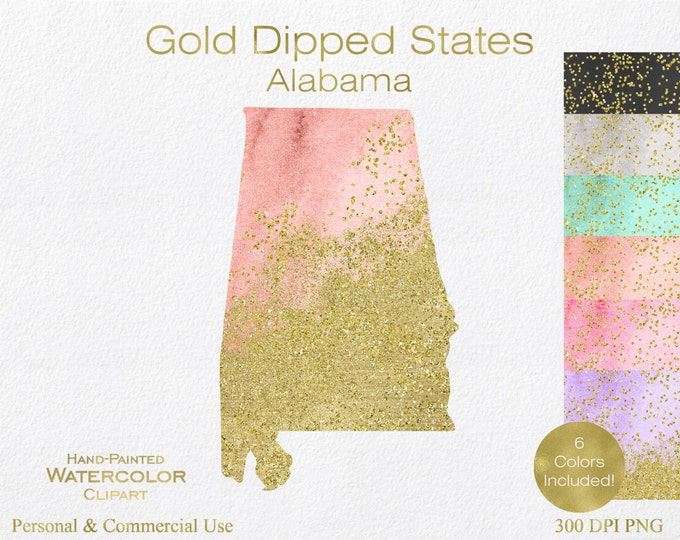 WATERCOLOR ALABAMA STATE Clipart Commercial Use Clipart United States Shapes Wedding Clipart Alabama Map Graphic With Gold Glitter Confetti