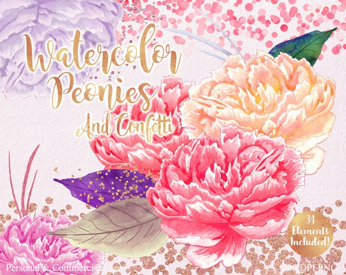 PINK WATERCOLOR FLOWER Clipart Commercial Use Clipart 34 Watercolor Peonies Clipart Rose Gold Confetti Watercolor Floral Wedding Clip Art