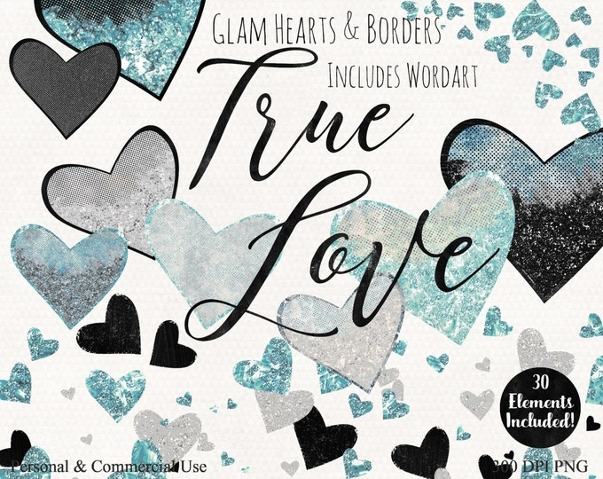 AQUA HEARTS WATERCOLOR Clipart Commercial Use Clip Art True Love Teal & Black WordArt Metallic Silver Heart Confetti Wedding Planner Clipart