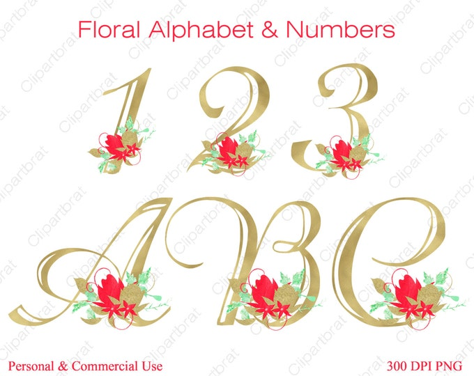 MINT & CORAL ALPHABET Clipart Commercial Use Clipart Wedding Monogram Letters Gold Watercolor Flower Alphabet Floral Monogram Alpha Letters