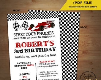 Race car birthday invitation racing cars auto racing party invite Instant Download YOU EDIT TEXT and print yourself invite 5392