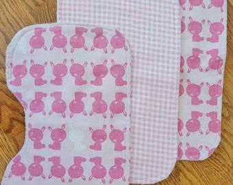 Baby Girl Burp Cloth Set, Pink Bunnies - Set of 3