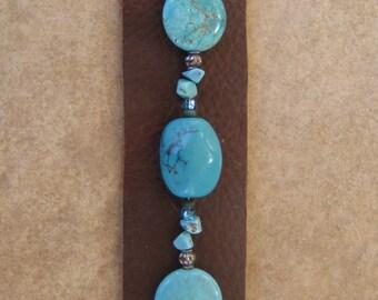 Large Turquoise Beaded Leather Cuff Bracelet