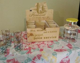 Mid Century Homestead Federal Glass Handi-Serv Juice Service, 30 oz Decanter & 6 glasses (item #280)
