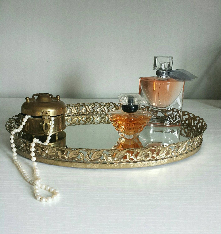 Mirrored Vanity Tray Perfume Tray Vintage Vanity Tray Vanity