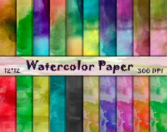 Watercolor Digital Paper - Colorful Watercolor Splatter Paper - High Res - Bold Watercolor Texture - Commercial Use - Instant Download