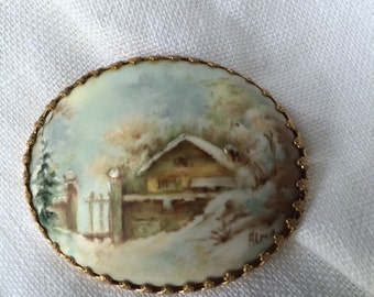 Vintage Handpainted Porcelain Brooch Pin
